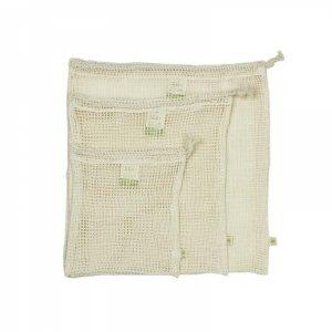 Sacchetto riutilizzabile di rete per frutta e verdura in cotone biologico (3pz)