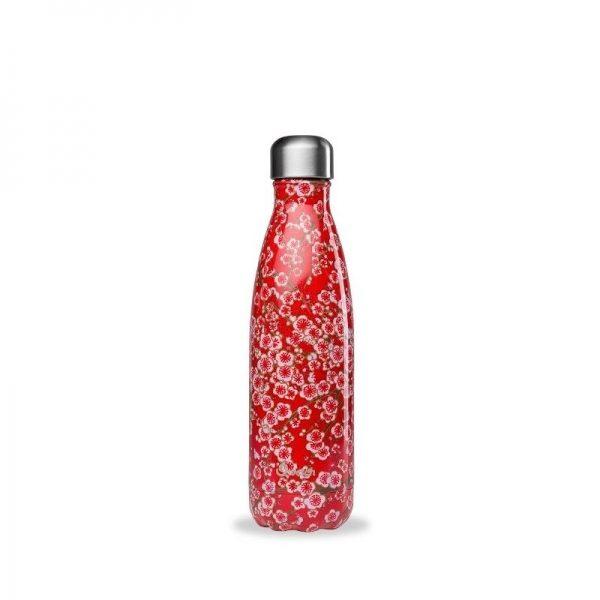 Borraccia termica in acciaio fiori rossi (500ml)