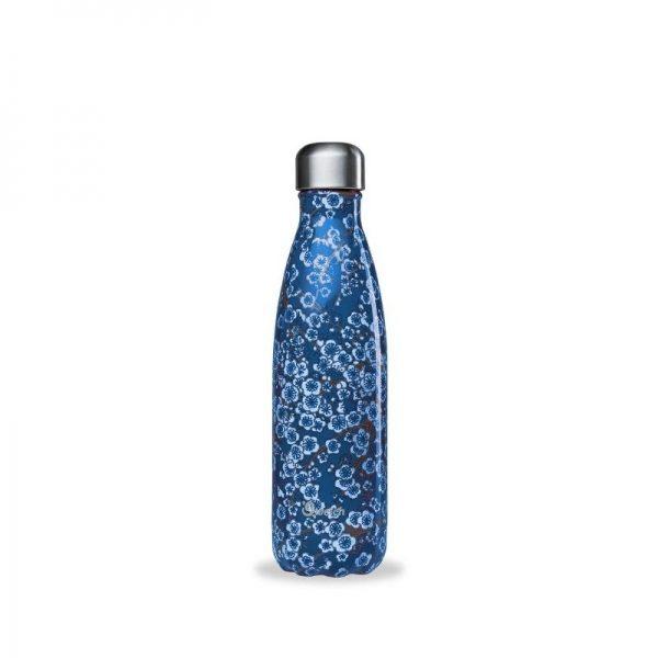 Borraccia termica in acciaio fiori blu (500ml)